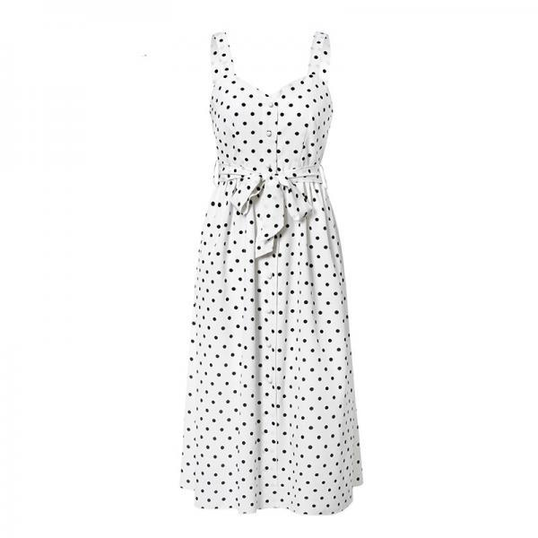Simplee Polka dot women casual dress Sleeveless buttons belt bodycon beach midi Streetwear beach wear holiday summer dress
