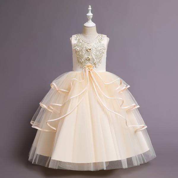 Children's palace style princess dress wedding dress long dress skirt large children's clothing catwalk performance clothing tutu skirt flower girl dress