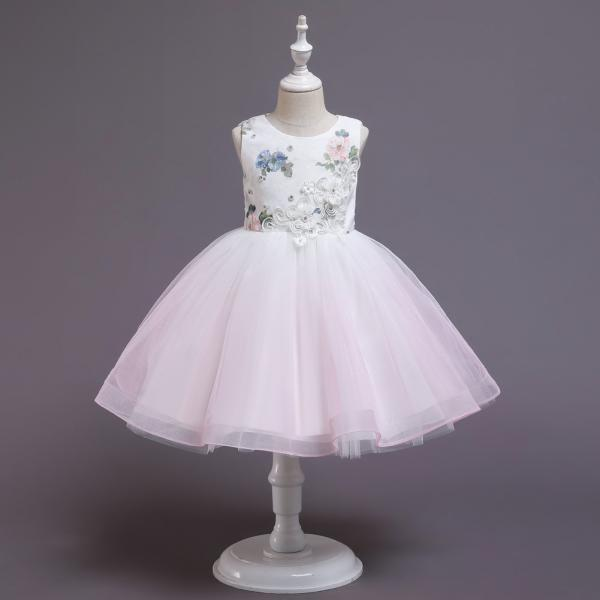Children's new dress skirt baby birthday princess fluffy gauze skirt flower girl wedding dress girl small host evening dress