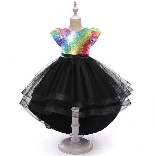 Girls dress dance performance costume rainbow sequined gauze colorful tutu skirt children tail dress