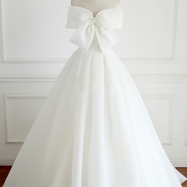 elegant Simple Long Wedding Dress V-Neck Backless Bowknot Floor-Length Bridal Dress