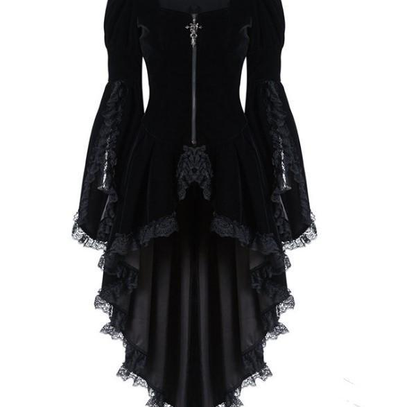 Women Lace Trim Lace-up tuxedo Coat Black Victorian Style Gothic Jacket Medieval performing stage Dress