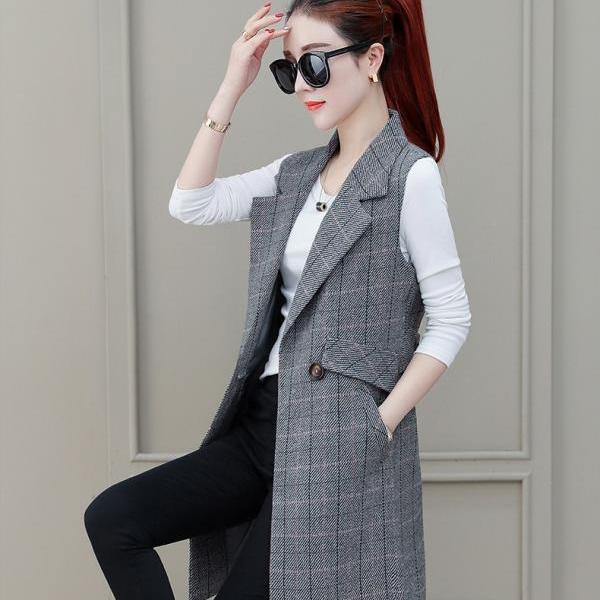Women Suit Waistcoat Spring and Autumn New Style Western Style Outer Vest WOMEN'S Dress Waistcoat Mid-length Thin Coat