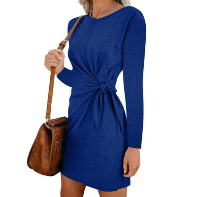 Women Office Lady Dress Autumn Casual Loose Long Sleeve Sashes O Neck Mini Women Dress Elegant Rabbit Hair Warm Dress