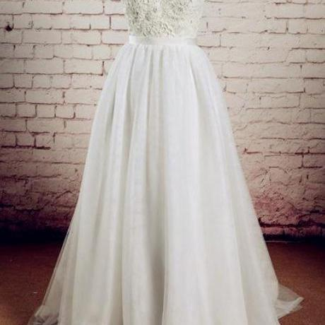 Sexy V-Neck Wedding Dress Lace Charming A-Line Tulle Sleeveless Bridal dress