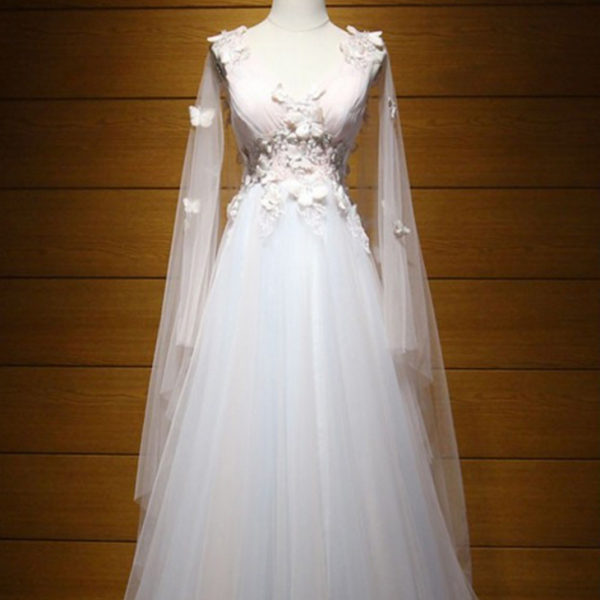 Glamorous V-Neck Applique Sleeveless Wedding Dress Embroidery Tulle A-Line Bridal Dress,