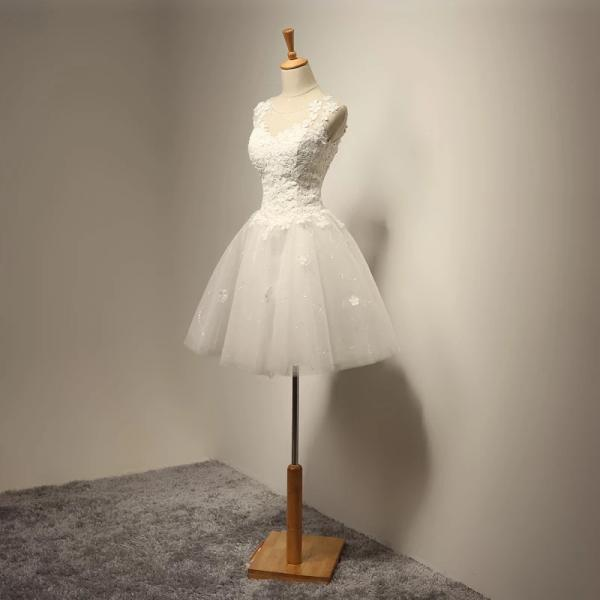 vintage short Applique wedding dress O Neck tulle Bridal Dress