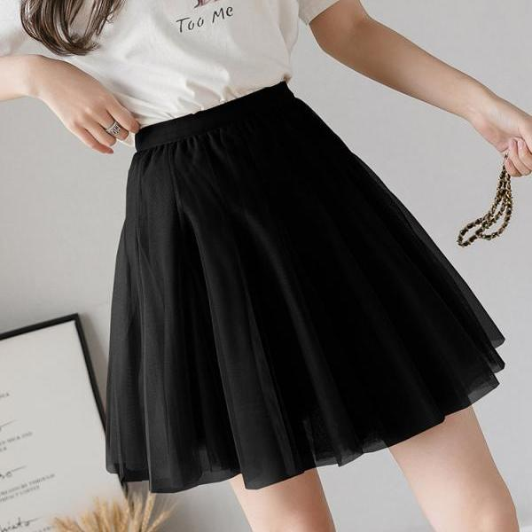 Girly Tutu Skirts Women Sexy Mini Spring Summer Pleated Solid Mesh High Elastic Waist Skater Skirt