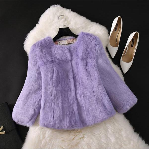 2021 Hot Girl Fur Coat Women Jacket Genuine Real Outerwear Casual Short Women Coats