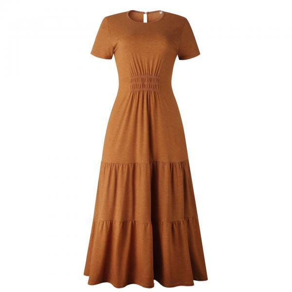 Long Women Robes Dress Elegant Ruched A-Line Casual Ladies Summer Maxi Dresses
