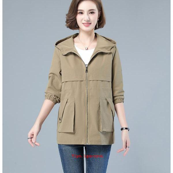 Spring Autumn 2021 New Windbreaker Women Hooded Coat Plus Size Nipper Outerwear Casual Wild Female Jacket Loose Clothes