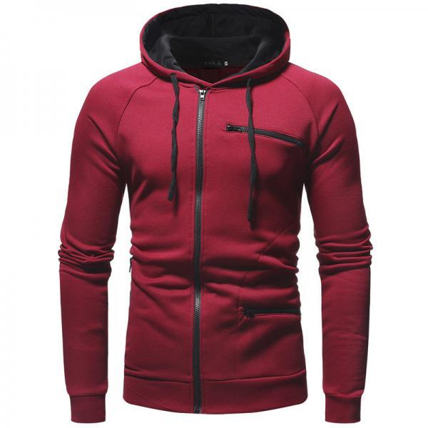Men Side Zipper Hoodies Cotton Sweatshirt Spring Sportswear Slim Pullover Tracksuit Hip Hop Streetwear
