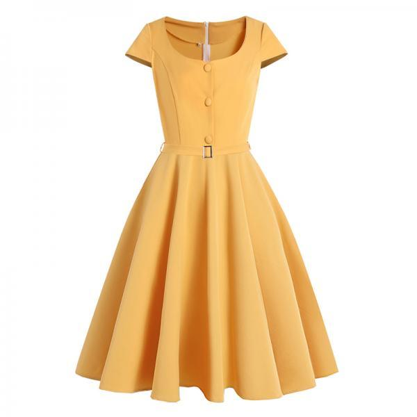 Women Button Up O-Neck Cap Sleeve Vintage Summer Dress Elegant Robes Belted A Line Retro Midi Ladies Clothes