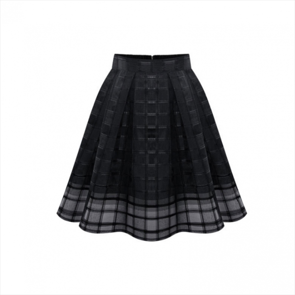 Waist female Women Casual Skirts hollow out Solid Summer Plaid High Skirts Office Style Loose Elegant Lady Clothing