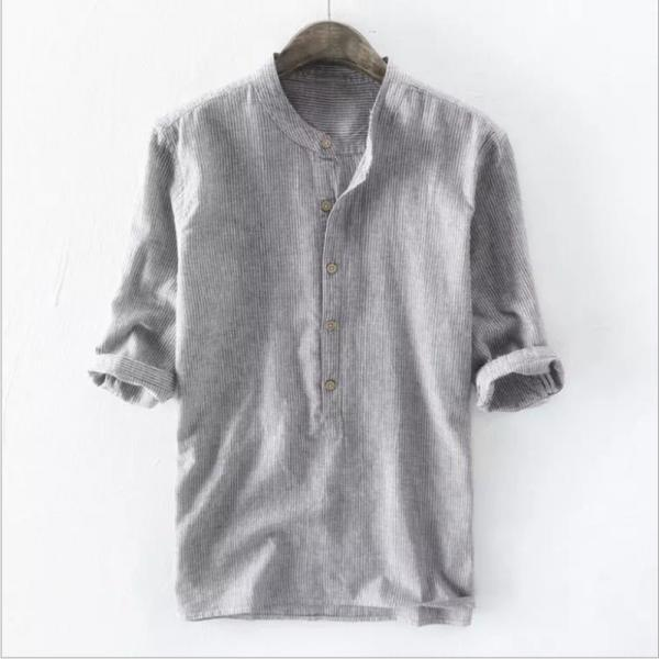 2021 spring autumn new men shirt slim-fit cotton linen striped printed casual long-sleeved shirt
