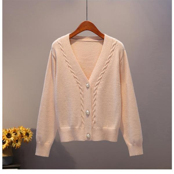 New Spring Autumn Women Cardigans Sweater 20201Fashion Slim Ladies Long sleeve solid Knitted Female Casual V-neck Pull Femme Tops