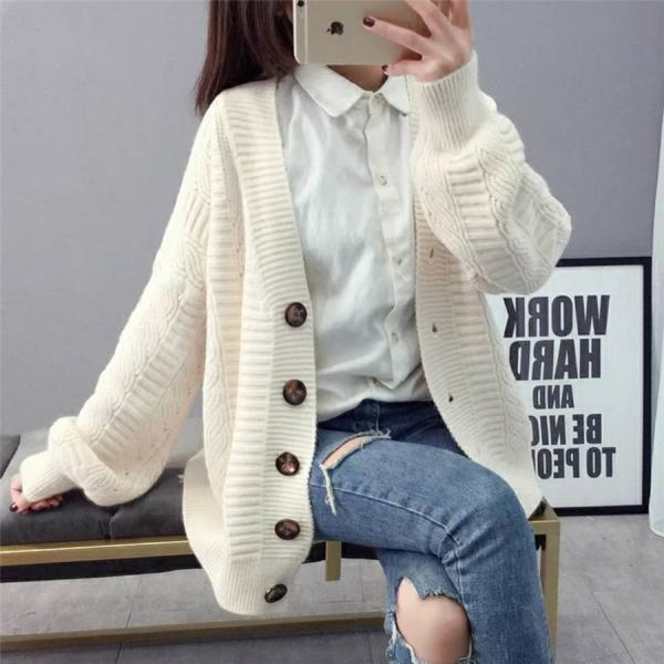 Sweater cardigan jacket female loose Korean student spring autumn 2021 new trend round button net red hot sale