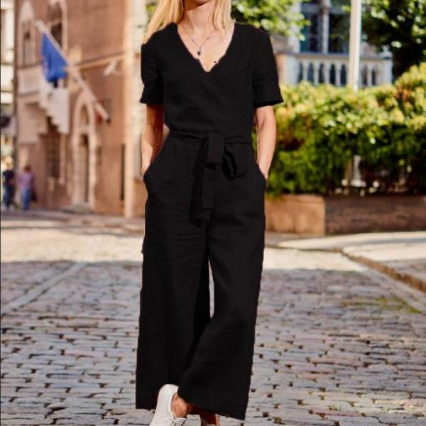 Hot Women Short Sleeve Wide Leg Loose Jumpsuit Summer Casual V-neck Pocket Overalls Sports Jumpsuits Fashion Playsuits