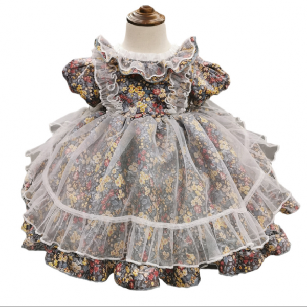 Summer Baby Girl Lolita Princess kids Dress Ball Gown Evening Dress Floral Gauze Birthday Party TUTU Princess Children Dresses
