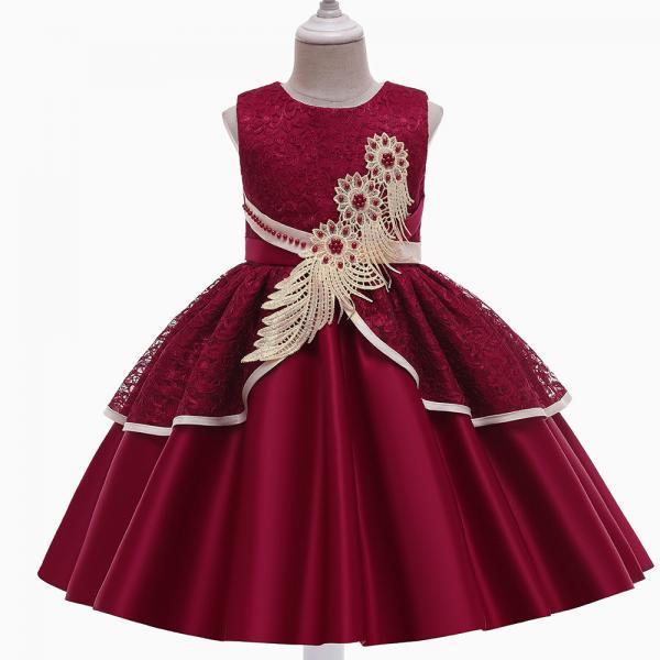 Formal Flower Beads Evening Dress Kids Wedding Dresses Children Costume Party Infant Vestido Satin Elegant