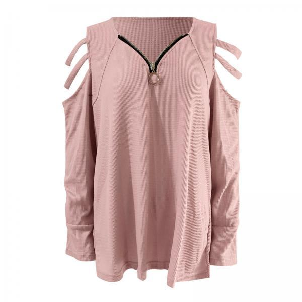Women Tops V-Neck Zipper Solid Long Sleeve Blouse Autumn Fashion Casual Sexy Ladies Hollow Strapless Tunic 2021 New