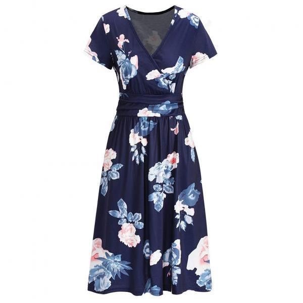 Women Casual V-Neck Short Sleeve Summer Flower Print Knee-Length Dress For Beach Dress