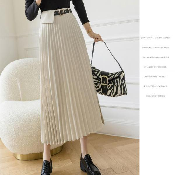 2021 Mid-length women Skirts Fashion Solid Spring Summer Pleated mid-length Skirts