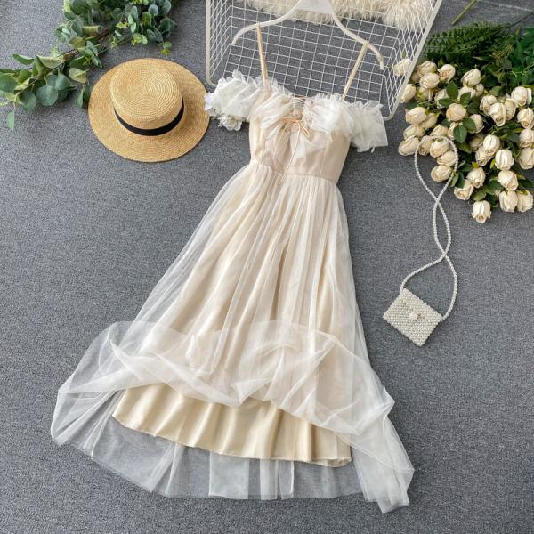 Seaside holiday wind net yarn long dress fairy careful machine ruffled neckline suspender dress