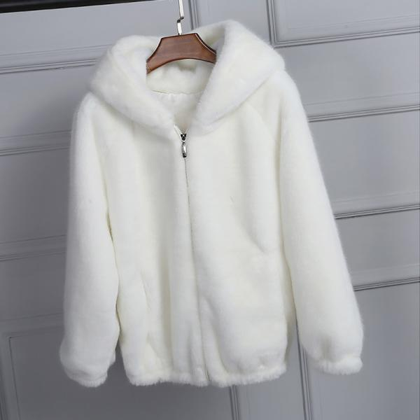 Pure Hooded Faux Fur Coat Women's Autumn Winter Thick Warm Soft Fluffy Zipper Jacket Casual Loose Outerwear