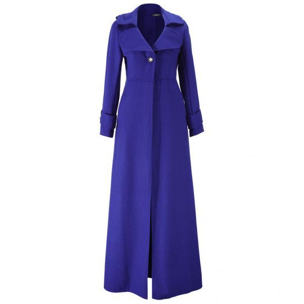 Floor Length Royal Blue Coat Women Jackets Cashmere Blend Long Sleeve Maxi Dress Wool Winter Windbreaker S M L XL 2XL