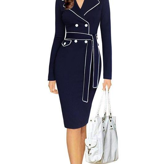 Womens Autumn Notched Collar Long Sleeve Belted Button Contrast Patchwork Wear to Work Office Bodycon Pencil Dress navy blue Color