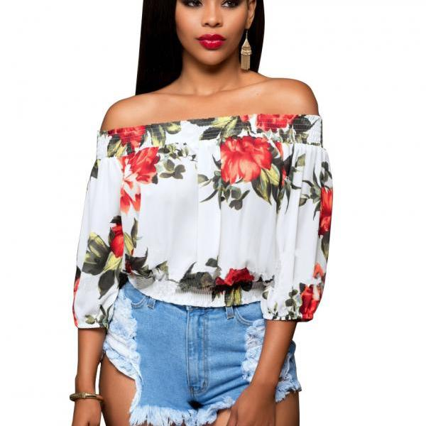 White Floral Print Off-The-Shoulder Cuffed-Sleeved Blouse