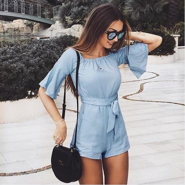 Light Blue Ruffle Half Sleeves Short Romper Jumpsuit With Belt