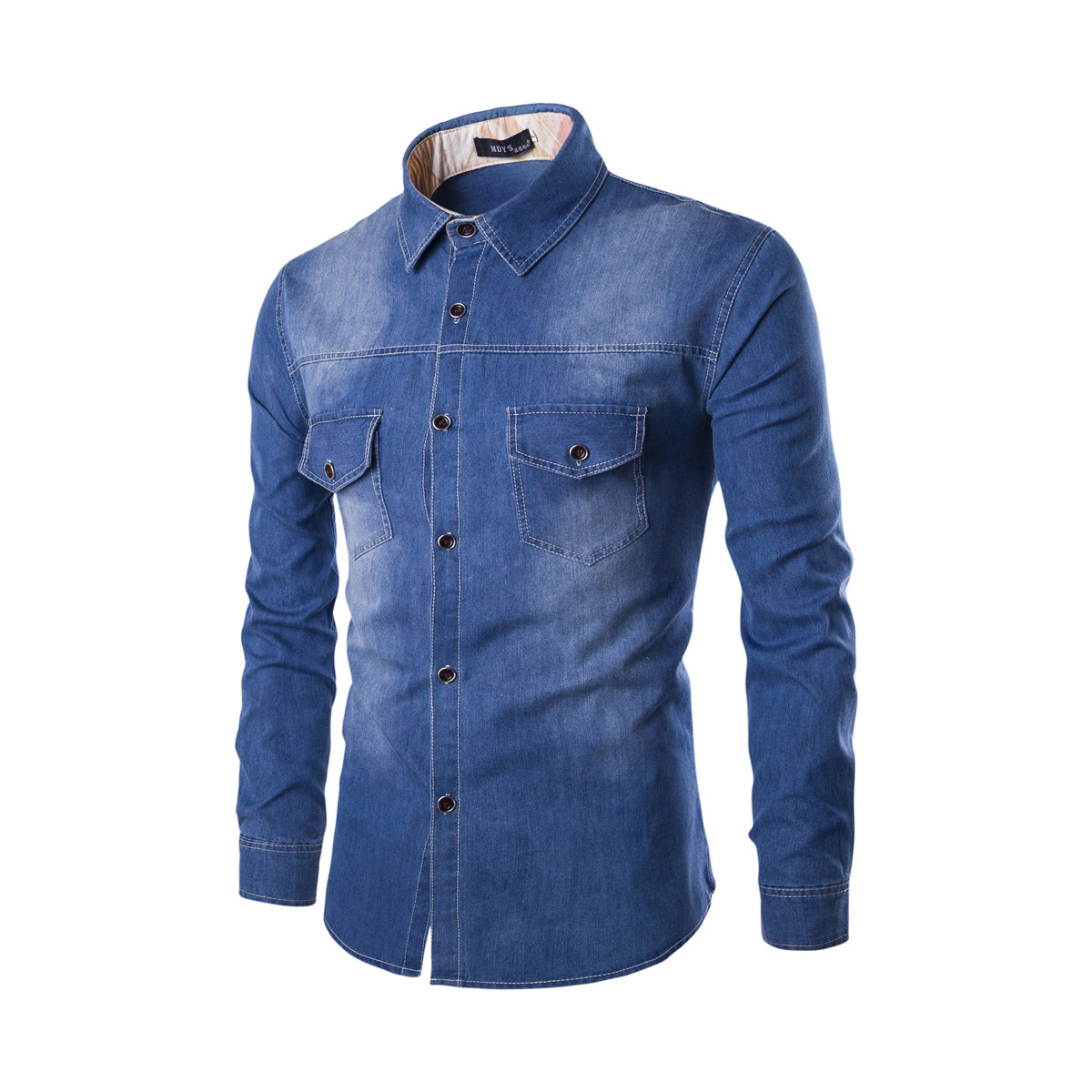 8fc7de8f76 Mens Denim Shirt Cotton Two Pockets Male Long Sleeve Slim Fit Casual Jeans  Shirt M-6xl blue
