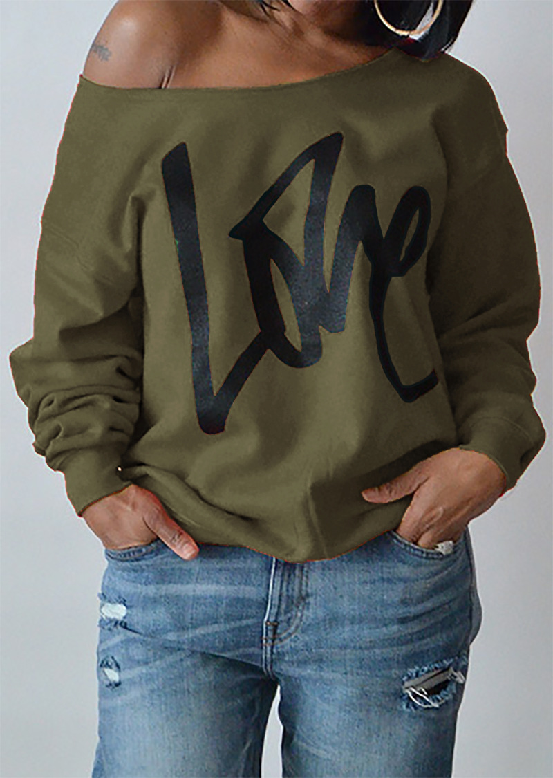 494765ec5aa Women Hoodies Sweatshirt Spring Girls LOVE Letter Printed Long Sleeve Sexy  Off The Shoulder Pullover army green