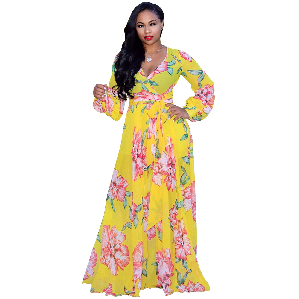 d5585fc13ac1 Sexy Deep V Neck Maxi Dress Beach Casual Long Sleeve Boho Floral Printed  Women Long Dress yellow