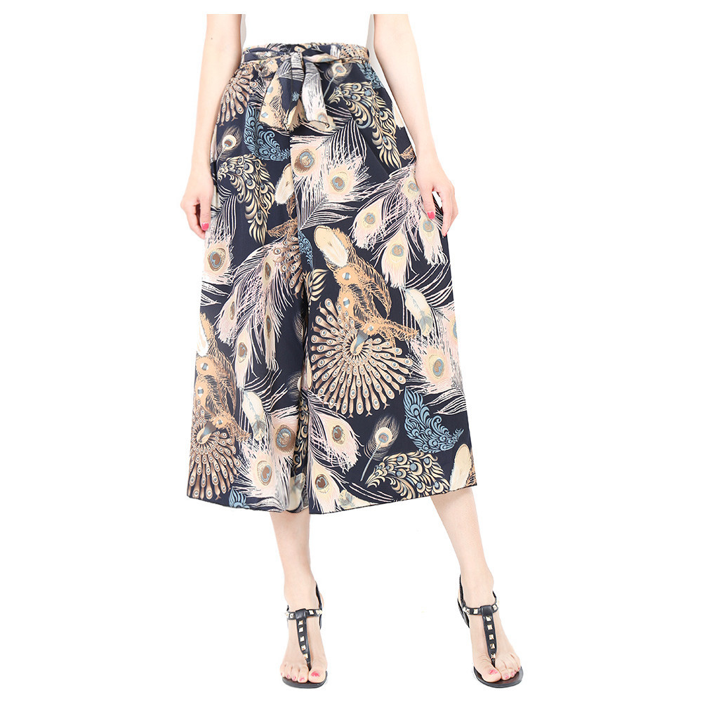 f77bd210a2 Women Floral Print Wide Leg Pants Boho Summer Beach High Waist Loose Casual  Trousers Blue Feather on Luulla