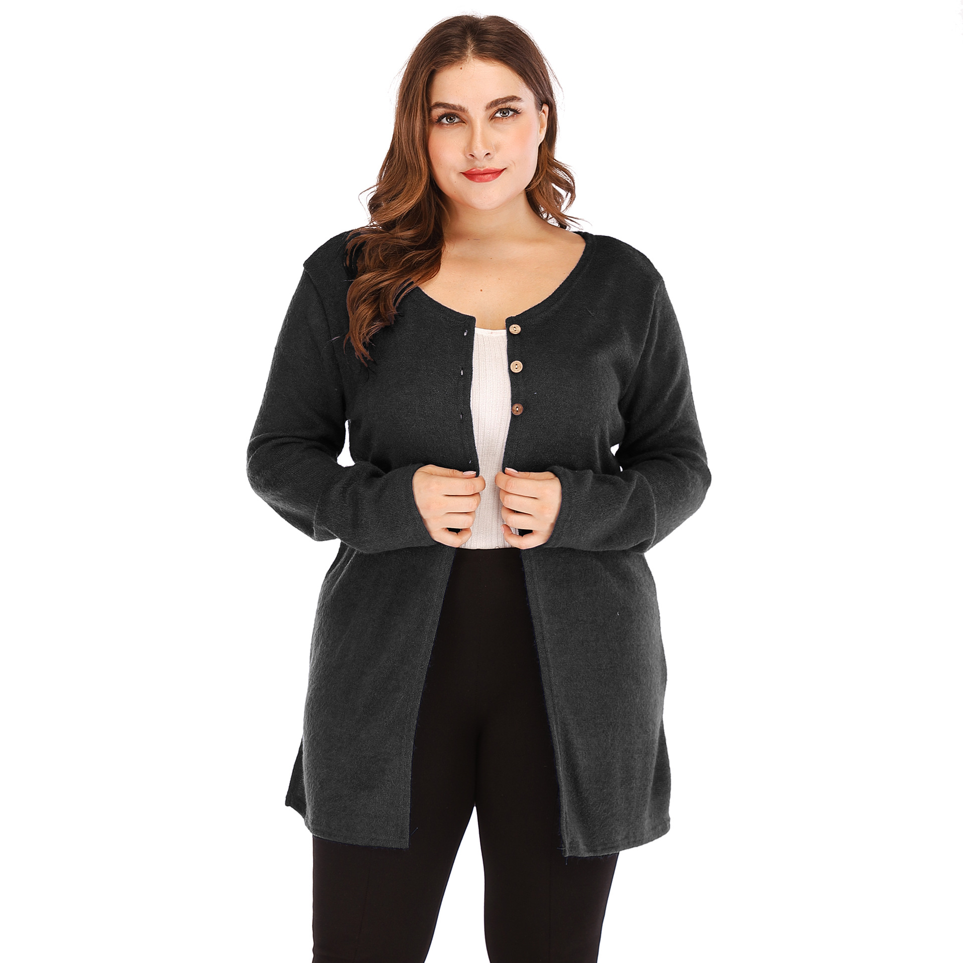 18ecdfd7d96 Women Cardigan Coat Autumn Long Sleeve Button Casual Basic Plus Size Jacket  Black on Luulla