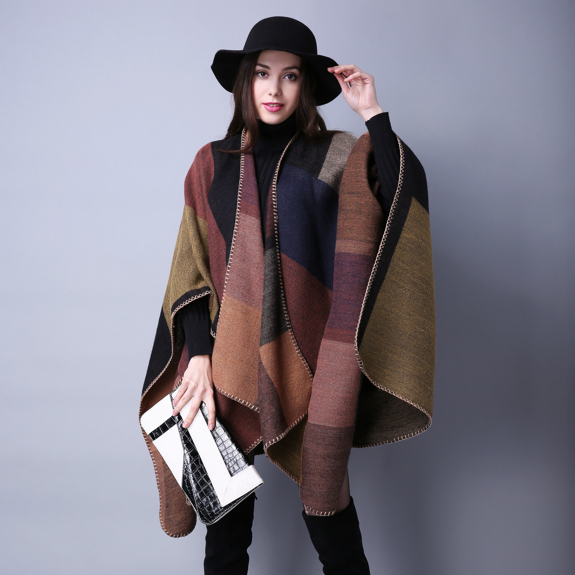 c18a7f896 Women Lady Faux Cashmere Scarf Plaid Poncho Cape Floral Wrap Shawl Blanket  Cloak on Luulla
